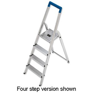 Image of Folding Aluminium Ladder - 3 Non Slip Ribbed Steps