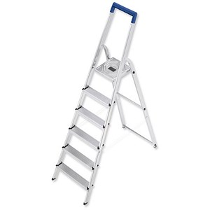 Image of Folding Aluminium Ladder - 6 Non Slip Ribbed Steps