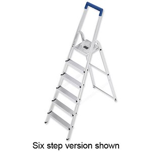 Image of Folding Aluminium Ladder - 8 Non Slip Ribbed Steps