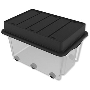 Image of Strata Storemaster Mega Crate & Trunk Lid on 6 Wheels 105 Litres W710xD495xH545mm Clear Ref HW409