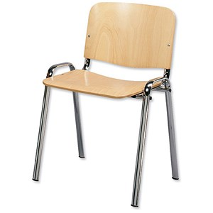 Image of Trexus Stacking Chair Chrome Frame with Wooden Seat W460xD400xH450mm Beech