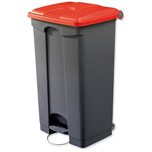 Image of EcoStep Bin / 90 Litre / Grey With Red Lid