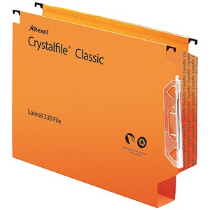 Image of Rexel CrystalFiles Extra Lateral Files / Polypropylene / 330mm Width / 30mm Base / Orange / Pack of 25
