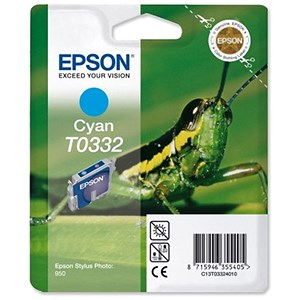 Image of Epson T0332 Cyan Inkjet Cartridge