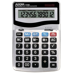 Image of Aurora Calculator Desktop Battery/Solar-power 12 Digit 3 Key Memory 133x198x34mm Ref DT303