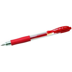 Image of Pilot G-205 Retractable Gel Rollerball Pen / Rubber Grip / Red / Pack of 12
