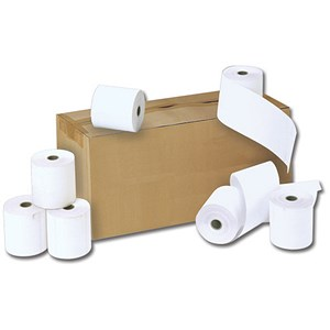 Image of NCR Paper Rolls / Width 57mm x Diam 55mm x Core 12.7mm / 2-Ply / White/Yellow / Pack of 20