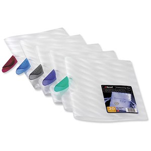 Image of Rexel Frosted Colour Clip Files with Translucent Clip / 30 Sheet Capacity / Assorted / Pack of 25