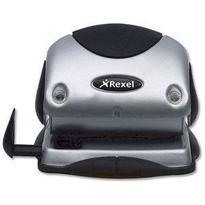 Image of Rexel P215 2-Hole Punch with Nameplate / Silver and Black / Punch capacity: 15 Sheets