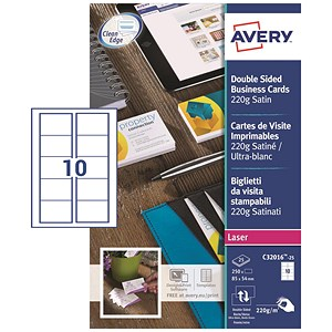 Image of Avery Quick and Clean Laser Satin Business Cards / 85mm x 54mm / 10 per Sheet / 220gsm / 250 Sheets