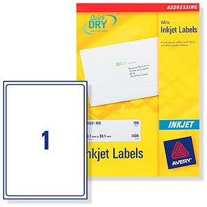 Image of Avery Quick DRY Inkjet Addressing Labels / 1 per Sheet / 199.6x289.1mm / White / J8167-25 / 25 Labels