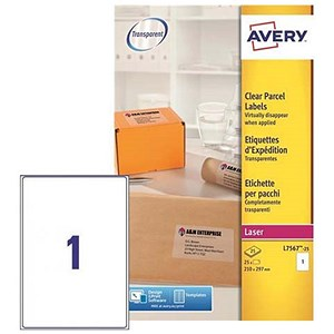 Image of Avery Clear Laser Addressing Labels / 1 per Sheet / 210x297mm / L7567-25 / 25 Labels