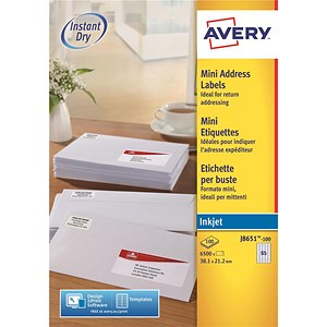 Image of Avery Inkjet Mini Labels / 65 per Sheet / 38.1x21.2mm / White / J8651-100 / 6500 Labels