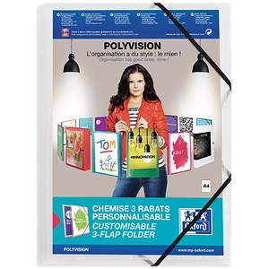 Image of Elba Polyvision Elasticated 3-Flap Folders / Polypropylene / A4 / Clear / Pack of 12