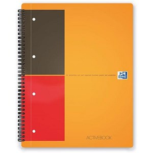 Image of Oxford International Activebook / A4+ / Perforated / 160 Pages+ Orange/Grey / Pack of 5