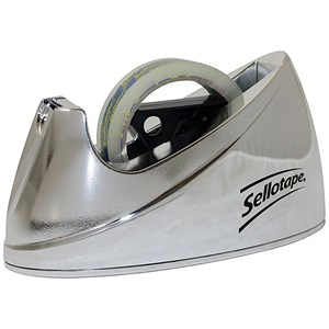 Image of Sellotape Large Desktop Tape Dispenser / Non-slip / Capacity: 25mm Width, 66m Length / Chrome