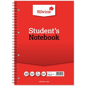 Image of Silvine Student Spiral Wirebound Notebook / 210x297mm / Ruled / Punched / 120 Pages / Pack of 12