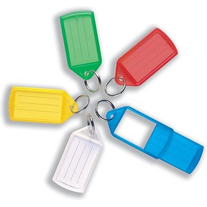 Image of 5 Star Key Hanger Sliding Fob Label Area 55x30mm Tag Size Large 75x37mm Assorted [Pack 10]