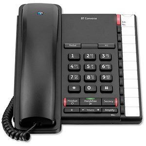 Image of BT Converse 2200 Telephone Wall-mountable 10 Number Memory Black Ref 040208