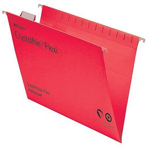 Image of Rexel CrystalFiles FlexiFiles Suspension Files / V Base / 15mm Capacity / Foolscap / Red / Pack of 50