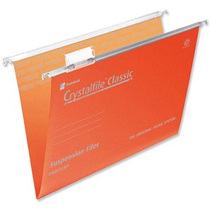 Image of Rexel CrystalFiles Classic Suspension Files / V Base / 15mm Capacity / Foolscap / Orange / Pack of 50