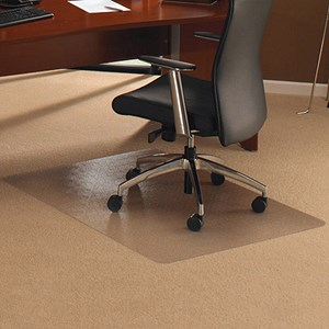 Image of Floortex Chair Mat Polycarbonate Rectangular for Carpet Protection 1190x750mm Clear