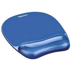 Image of Fellowes Crystal Mouse Mat Pad with Wrist Rest / Gel / Blue