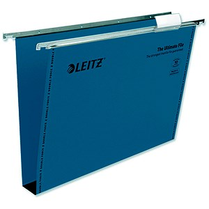 Image of Leitz Ultimate Recycled Suspension Files with Tabs & Inserts / Square Base / 30mm Capacity / Foolscap / Blue / Pack of 50