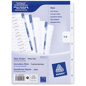Image of Avery Index Multipunched / 1-5 / A4 / White