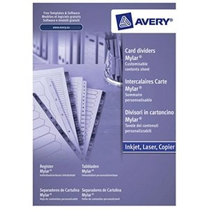 Image of Avery Index Multipunched / 1-15 / A4 / White