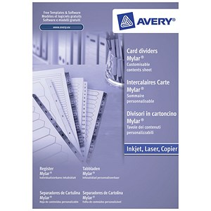 Image of Avery Index Dividers / Unpunched / 1-5 / A4 / White / Pack of 20