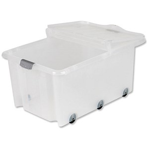 Image of Strata Storemaster Supa Crate & Trunk Lid 6 Wheels 75 Litres W710xD495XH420mm Clear Ref HW359 [Pack 5]