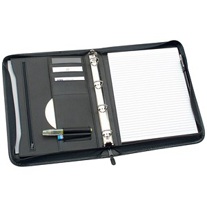 Image of 5 Star Zipped Conference 4 Ring Binder / W254xH360mm / Black