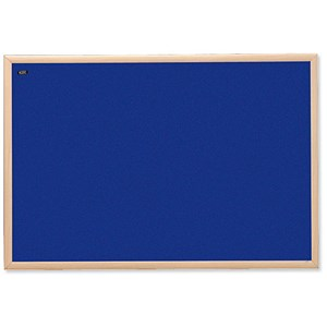 Image of Nobo Classic Office Noticeboard / Natural Oak Finish / W1200xH900mm / Blue