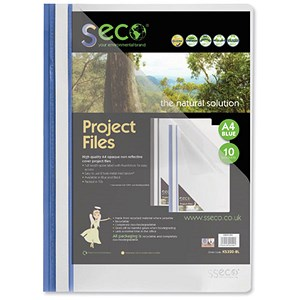 Image of SSeco Project Files / Oxo-biodegradable / Flat Bar / Opaque Front / A4 / Blue / Pack of 10