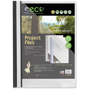 Image of SSeco Project Files / Oxo-biodegradable / Flat Bar / Opaque Front / A4 / Black / Pack of 10