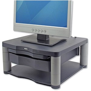 Image of Fellowes Premium Monitor Riser Plus / 21 inch 36kg Capacity / 5 Heights 118-168mm / Graphite