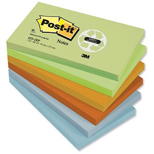 Image of Post-it Recycled Notes / 76x127mm / Pastel Rainbow / Pack of 12 x 100 Notes