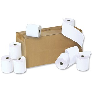Image of NCR Paper Rolls / Width 57mm x Diam 55mm x Core 12.7mm / 2-Ply / White/White / Pack of 20
