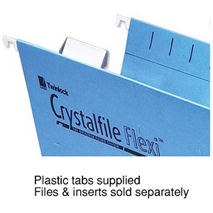 Image of Rexel CrystalFiles FlexiFiles Plastic Tabs For Suspension Files / Clear / Pack of 50
