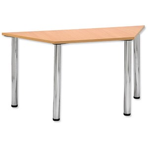 Image of Trexus Conference Table Trapezoidal Silver Round Legs W1500xD750xH735mm Beech