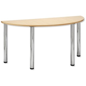 Image of Trexus Conference Table Semicircular Silver Round Legs W1500xD750xH735mm Maple