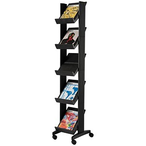 Image of Fast Paper Mobile Literature Display Corner / 5 Shelves / Black