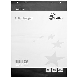 Image of Everyday Flipchart Pad / 40 Sheets / A1 / Plain / Pack of 5