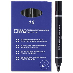 Image of Everyday Permanent Marker / Bullet Tip / Black / Pack of 10