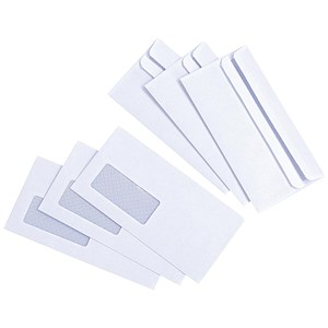 Image of Everyday DL Envelopes with Window / White / Press Seal / 80gsm / Pack of 1000