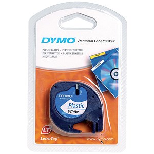 Image of Dymo LetraTag Tape Plastic 12mmx4m Pearl White Ref 91201 S0721610