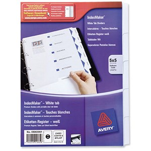 Image of Avery IndexMaker Divider Set / Punched / A4 / 5-Part / Pack of 5