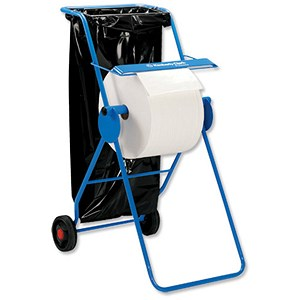 Image of Mobi Roll Dispenser with Serrated Cutter Tubular Frame 2 Wheels for Industrial Cleaning Towel Ref C01848