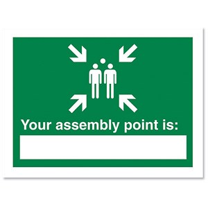 Image of Stewart Superior Your Assembly Point Is Sign Write-on 200x150mm Self-adhesive Vinyl Ref NS035